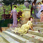 French artists - Artigue Albert Emile Girls On A Terrace