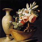 French artists - BERJON Antoine Still Life With A Basket Of Flowers