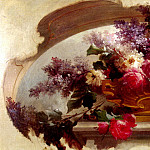French artists - Bidau Eugene Flowers In A Gilt Vase