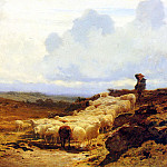 French artists - Bonheur Auguste A Shepherd And His Flock