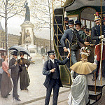 French artists - Houry Charles Borromee Antoine Catching the Trolley