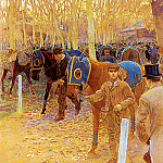 French artists - Binet Adolphe Gustave The Saddling Paddock
