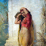 French artists - Bernard harem girl with tamborine