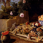 Desportes Alexandre Francois Still Life Of Grapes Peaches In A Blue And White Porcelain Bowl And A Melon, French artists