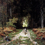 Laurens Jules Joseph Augustin Equestrienne on a Wooded Lane, French artists