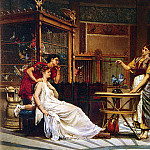 French artists - Glaize Pierre Paul The Bird Charmer