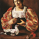 French artists - CECCO DEL CARAVAGGIO Woman With A Dove
