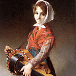 French artists - The Hurdy - Gurdy Girl