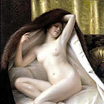 French artists - Guedy Gaston YOUNG WOMAN WRAPPED IN A FUR BLANKET