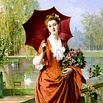 French artists - Caraud Joseph Caraud The Red Parasol