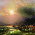 Ivan Konstantinovich Aivazovsky - Seaside city. View of Yalta in 1866 61,5 h78