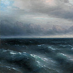 Black Sea. In the Black Sea starts to play out the storm in 1881 149h208, Ivan Konstantinovich Aivazovsky