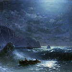 Storm on the sea at night in 1895 47,5 h75, Ivan Konstantinovich Aivazovsky