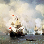 Battle in the Chios Channel June 24, 1770 1848 220h190, Ivan Konstantinovich Aivazovsky