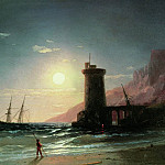 Ivan Konstantinovich Aivazovsky - Seascape with Moon 1849 16,2 h24