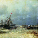 Ivan Konstantinovich Aivazovsky - fleeing from the storm in 1872 65h80