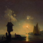 Ivan Konstantinovich Aivazovsky - Sea view from the chapel on the shore 1845 58h88