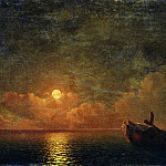 Moonlit Night. Wrecked ship in 1871 56h93, Ivan Konstantinovich Aivazovsky