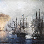 Navarino battle. Sketch. Maps. Oil on canvas 1887 10x15, 5, Ivan Konstantinovich Aivazovsky