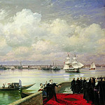 Ivan Konstantinovich Aivazovsky - Visiting Byron Mkhitarian on the island of St. Lazarus in Venice in 1899 133h218