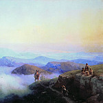 Chains of the Caucasus Mountains. View from the mountains to Karanayskih Temir-Khan-Shura, on the Caspian Sea in 1869 130h170, Ivan Konstantinovich Aivazovsky