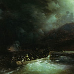 Ivan Konstantinovich Aivazovsky - heroine Bobolina with hunters breaks under a hail of shots on a boat through the Turkish fleet, blocks