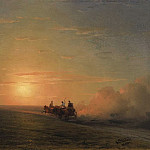 Troika in the steppe, 1882, Ivan Konstantinovich Aivazovsky