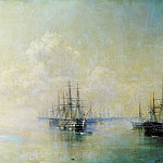 Ivan Konstantinovich Aivazovsky - Black Sea Fleet squadron before going on the raid Sevastopol 1895 96h150
