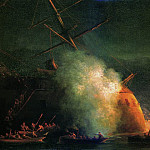 Mine attack boats, the steamer Grand Duke Konstantin Turkish battleship Assar-Shevket by Suh, Ivan Konstantinovich Aivazovsky