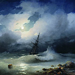 Ivan Konstantinovich Aivazovsky - Stormy Sea at night 82h117 1853