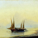 Ivan Konstantinovich Aivazovsky - Barges the seashore 37,5 x50, 6