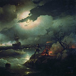 Ivan Konstantinovich Aivazovsky - Peter I at the Red Hill. lit for a fire to signal the lost ships its 1846 223h335