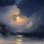 Storm on the sea on a moonlit night 28h39, Ivan Konstantinovich Aivazovsky