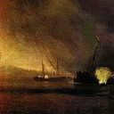 Explosion three-masted ship in Sulin 27 September 1877. 1878 97h122, Ivan Konstantinovich Aivazovsky