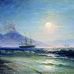 Bay of Naples at night in 1895 28,2 x40, 8, Ivan Konstantinovich Aivazovsky