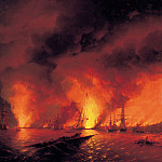 Sinop fight on November 18 1853. The night after the battle in 1853, Ivan Konstantinovich Aivazovsky
