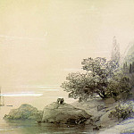sea against a rocky shore in 1851. Wood, pencil, protsarapka 18. . . . 7h27. . 2, Ivan Konstantinovich Aivazovsky