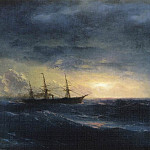 Ivan Konstantinovich Aivazovsky - cruiser in the sea at night 23h50