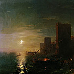 Ivan Konstantinovich Aivazovsky - Moonlit Night in Constantinople in 1862 123h169