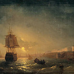 Ivan Konstantinovich Aivazovsky - Type of Odessa on a moonlit night in 1855 78h128