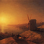 Mill on the river bank. Ukraine 1880 32,3 h43, 8, Ivan Konstantinovich Aivazovsky