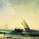 Ivan Konstantinovich Aivazovsky - Meeting fishermen on the shore of the Bay of Naples 1842 58h85