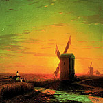 Ivan Konstantinovich Aivazovsky - Windmills in ukrainskoyStepi at sunset 1862 51h60