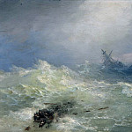 Tempest 1886. Oil on panel 22,3 x15, 9, Ivan Konstantinovich Aivazovsky