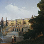 View on the Grand Cascade and the Grand Peterhof Palace 1837, Ivan Konstantinovich Aivazovsky