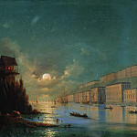 Ivan Konstantinovich Aivazovsky - Type seaside city in the evening with a lighted beacon 1870 27h37