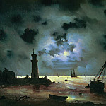 Ivan Konstantinovich Aivazovsky - Seashore night. The lighthouse in 1837 56h81