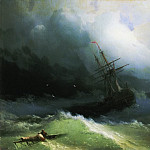 Ships on the stormy sea 1866 61h78, 2, Ivan Konstantinovich Aivazovsky