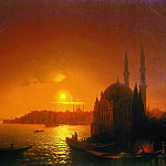 Ivan Konstantinovich Aivazovsky - Type of Constantinople in the moonlight 124h192 1846, 5