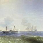 Fight steamer Vesta with the Turkish bronenostsemFehti-Bulend in the Black Sea July 11, 1877 1877 99h124, Ivan Konstantinovich Aivazovsky
